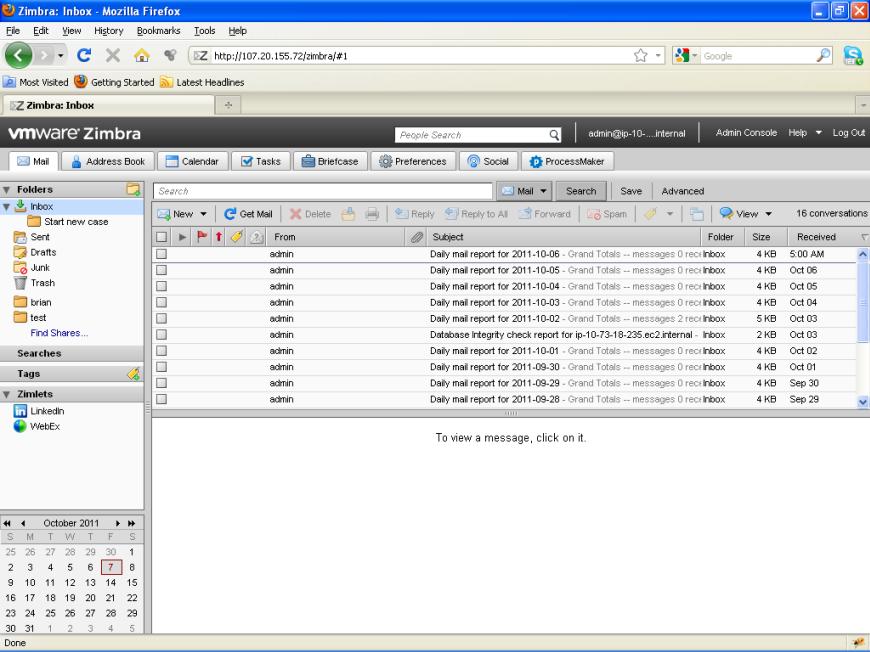 Zimbra Installation | Documentation@ProcessMaker